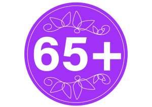 Pyöreä logo, jonka sisällä teksti +65.